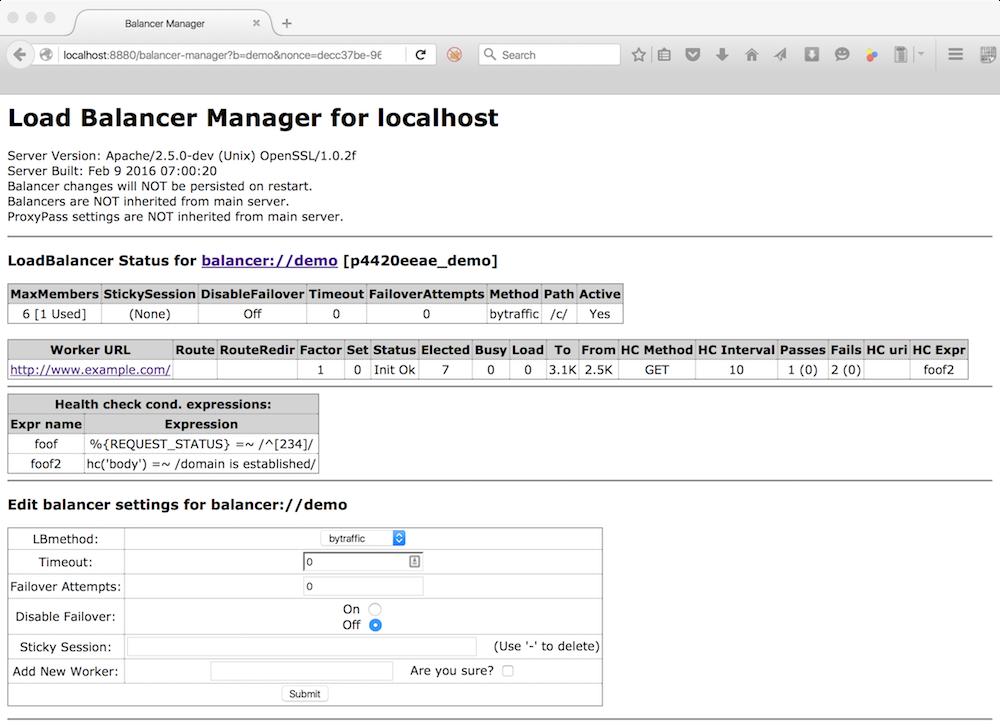 balancer-manager page